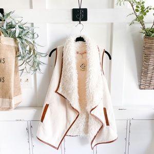 Cream Sherpa Faux Fur Vest